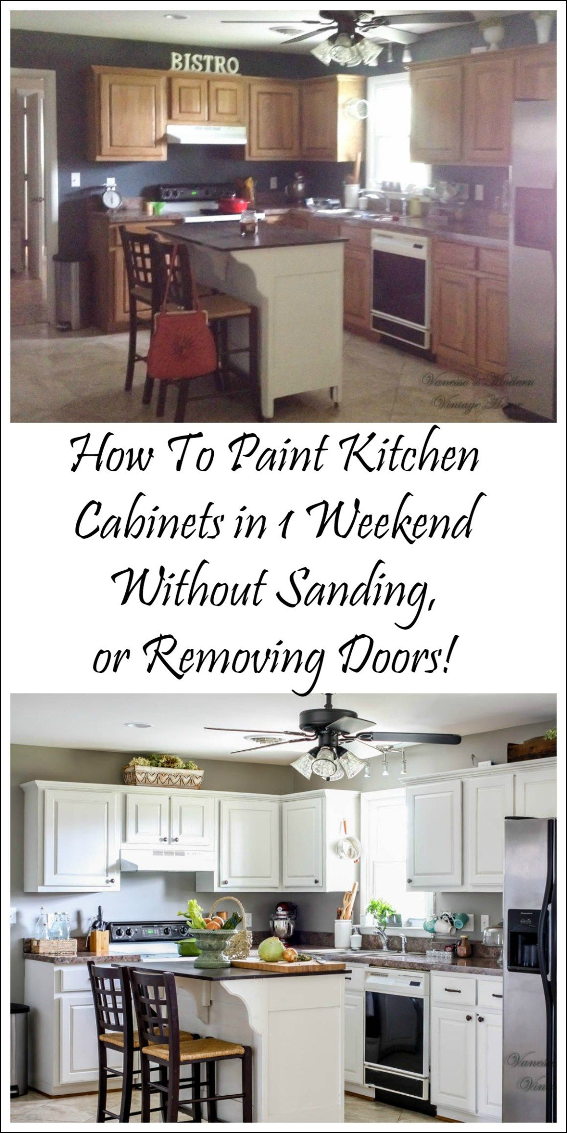 How I Painted My Kitchen Cabinets Without Removing The Doors!