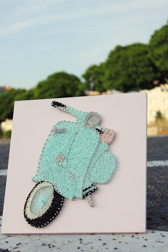 Vespa String Art ~ Mint Vespa,Pink Seat, ~ Vespa Wall Art ~ Vespa Scooter  by Arzu │ ★ String Art ★