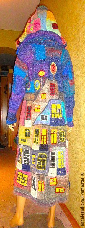 """Купить Пальто """"Вечерний Хундертвассер"""" -трапеция - рисунок, Анна Лесникова, хундертвассер, трикотаж от кутюр"""