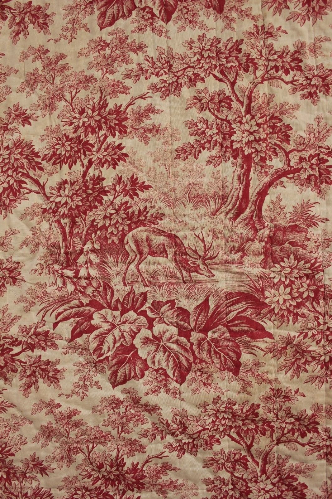 antique french pique provence quilt c1870 red stag toile de jouy fabric textile toile. Black Bedroom Furniture Sets. Home Design Ideas
