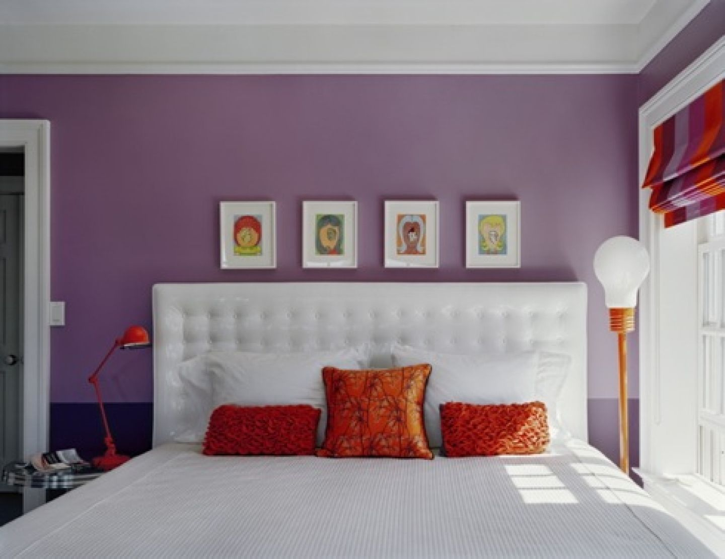 Simple bedroom designs for girls - Chambre Violet Orange For Teenage Girls Simple Purple Bedroom Idp Interior