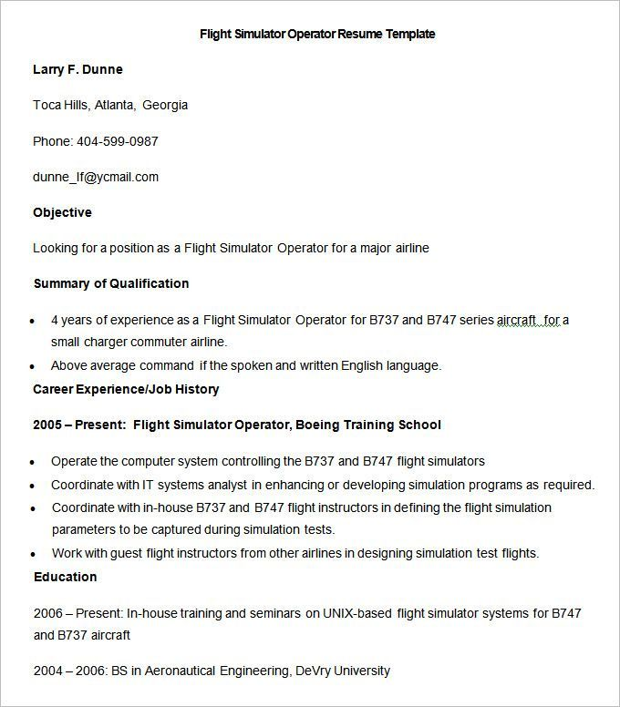 Sample Flight Simulator Operator Resume Template  How To Make A