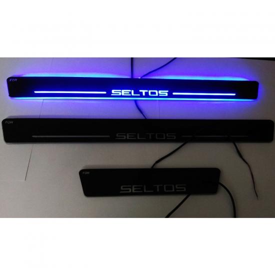 Car Door LED Light Scuff Sill Plate Guards for Kia Seltos