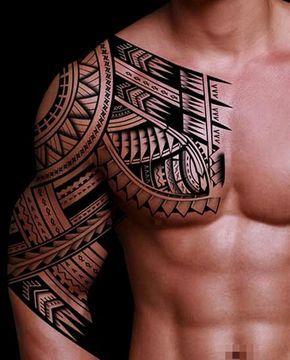 Tatouage tribal pectoral epaule et bras pour homme hawaiiantattoossleeve maoritattoosshoulder - Tatouage tribal epaule ...