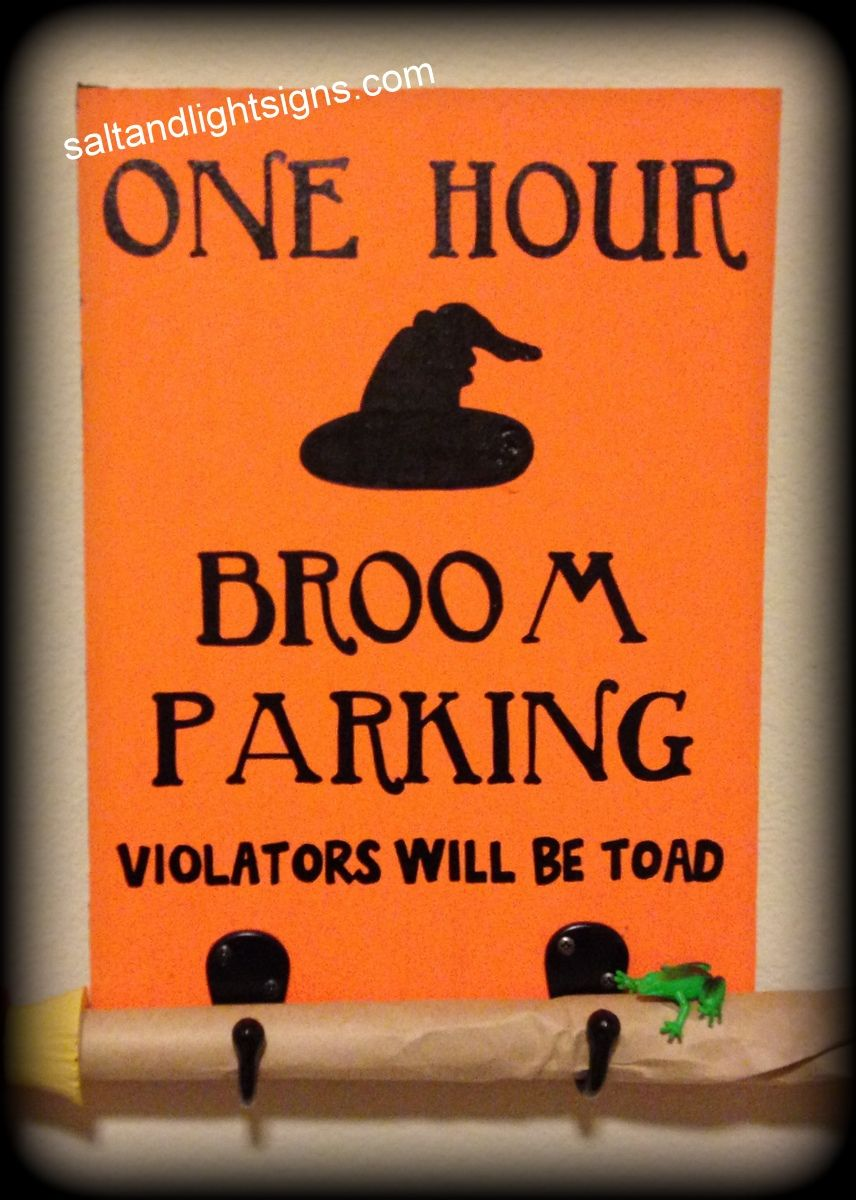 saltandlightsigns.com Halloween Wooden Sign One Hour Broom Parking Hooks  Orange Witch Hat 9ea37a1351b1