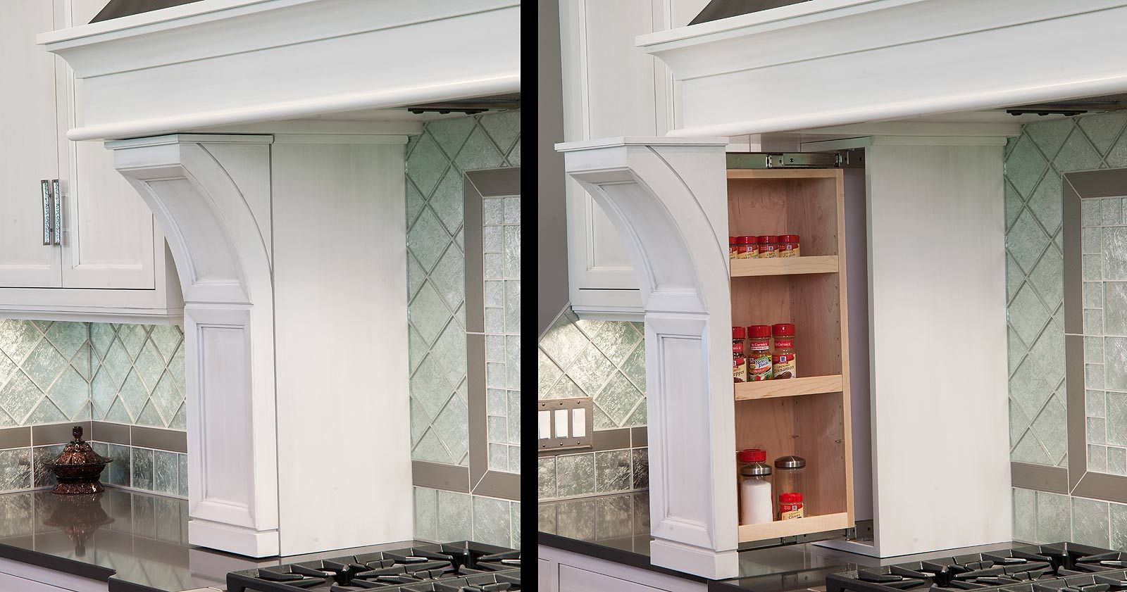 Spice rack pullout in the range hood columns. | Cabinet Accessories ...