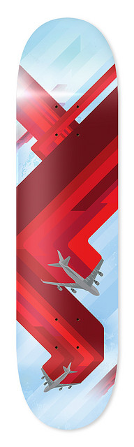I really like this design. The red, blue, and gray color scheme is very calm but the red is bold and stands out. I like the way the red lines are to show the pattern that the planes flew in. The red also gives a geometric and simple shape to the board.