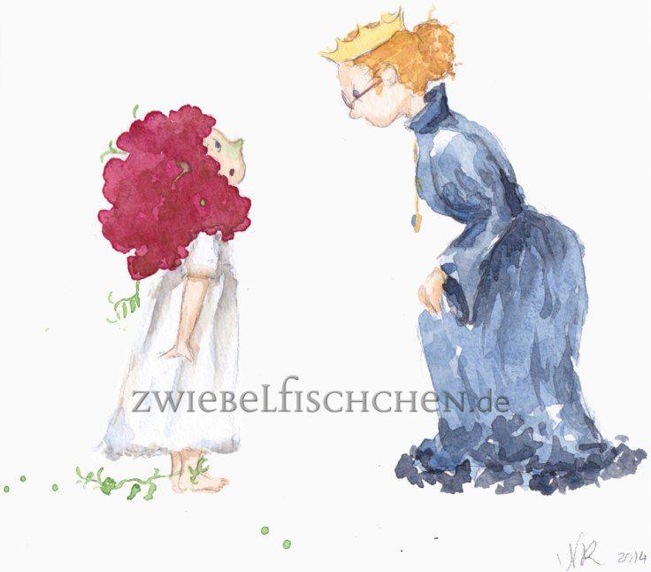 Die Königin überprüfte den Zustand der kleinen Prinzessin und konnte nun überzeugt zustimmen: nur eine Prinzessin kann eine kleine Erbse durch 20 Matratzen spüren.