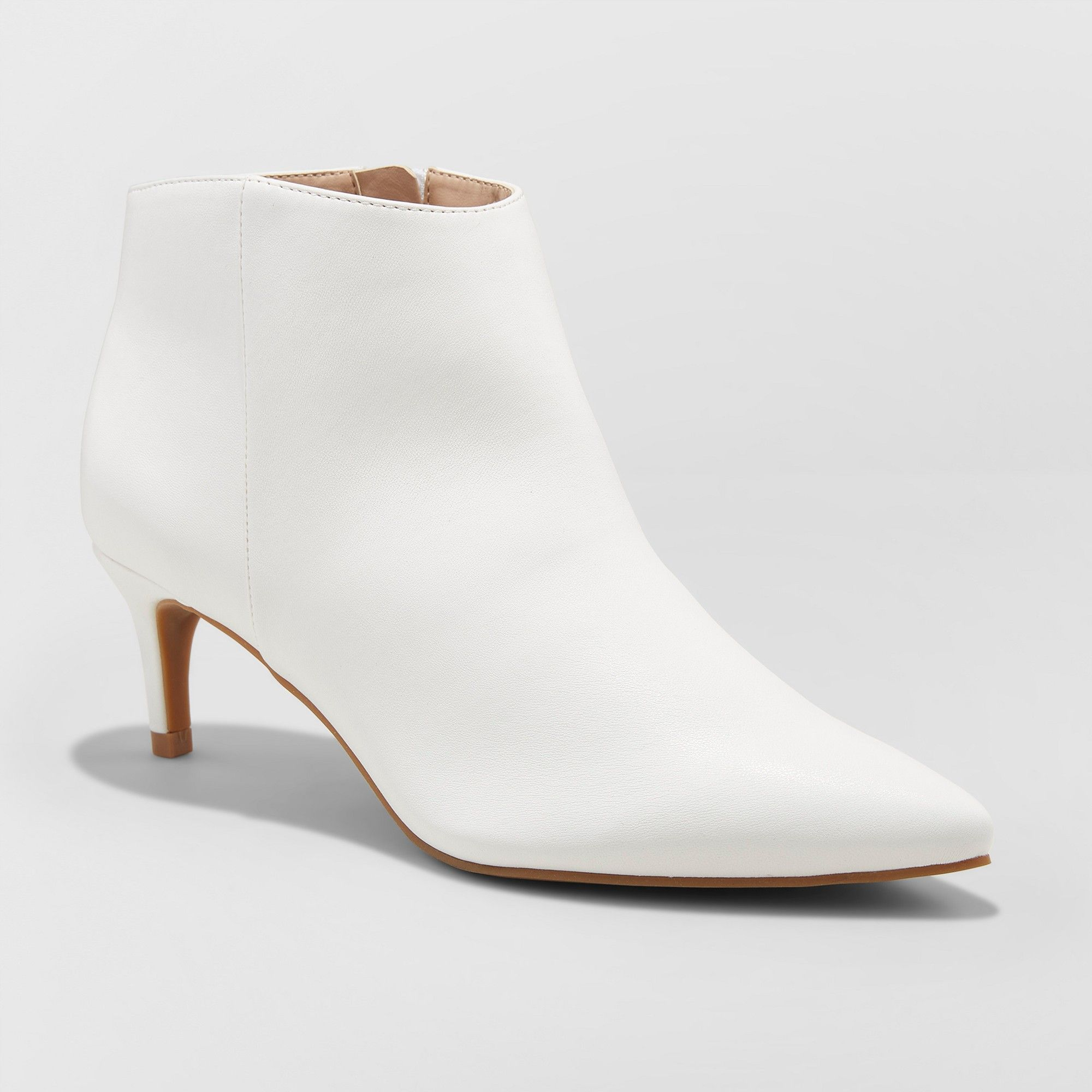 38838344808 Women s Dominique Pointed Kitten Heel Wide Width Booties - A New Day White  7.5W
