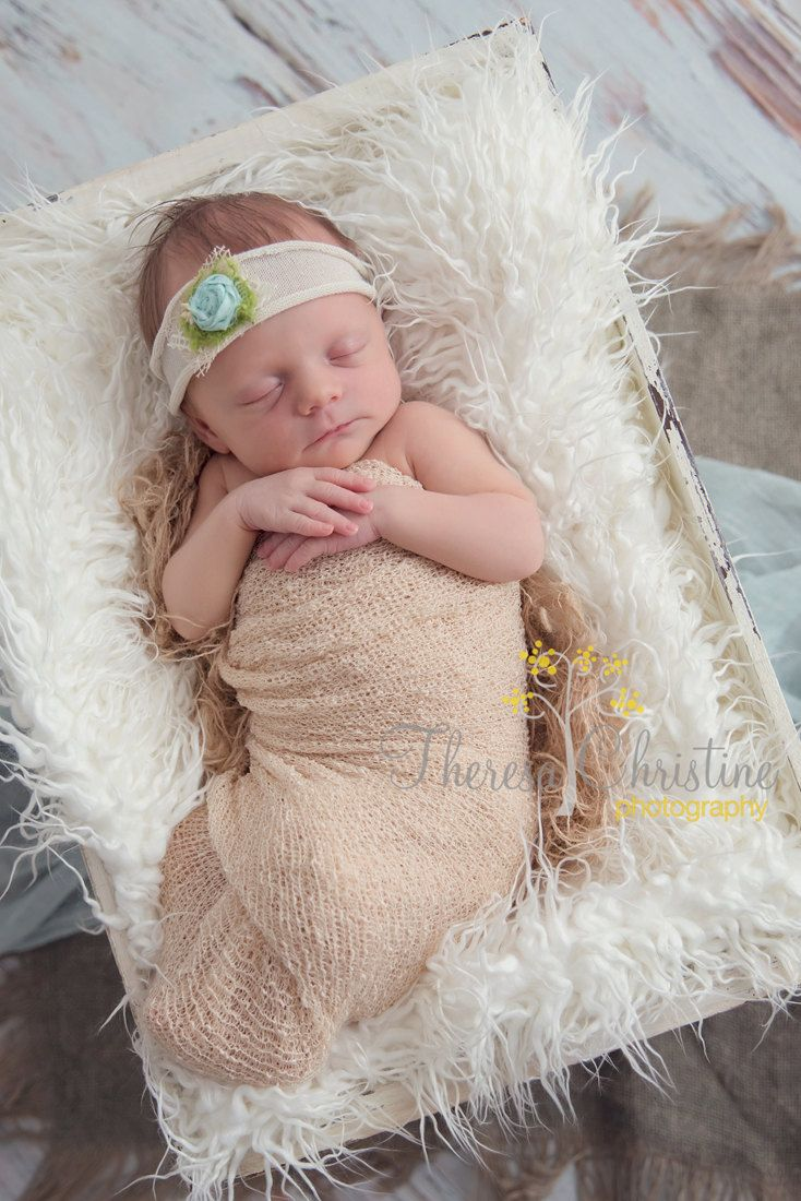 Cream newborn tieback headband with aqua rosette. Photography prop. Newborn headband. Tie back headband. Newborn knit headwrap. by LaurenAshlenBoutique on Etsy