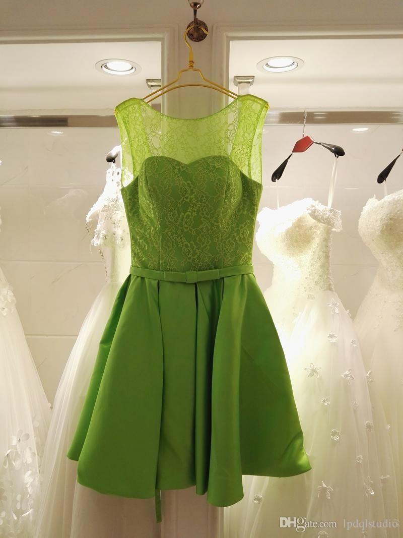 Green bridesmaid dress royal blue satin lace knee length bridesmaid