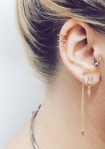 Baguette Bullet Drop Earrings