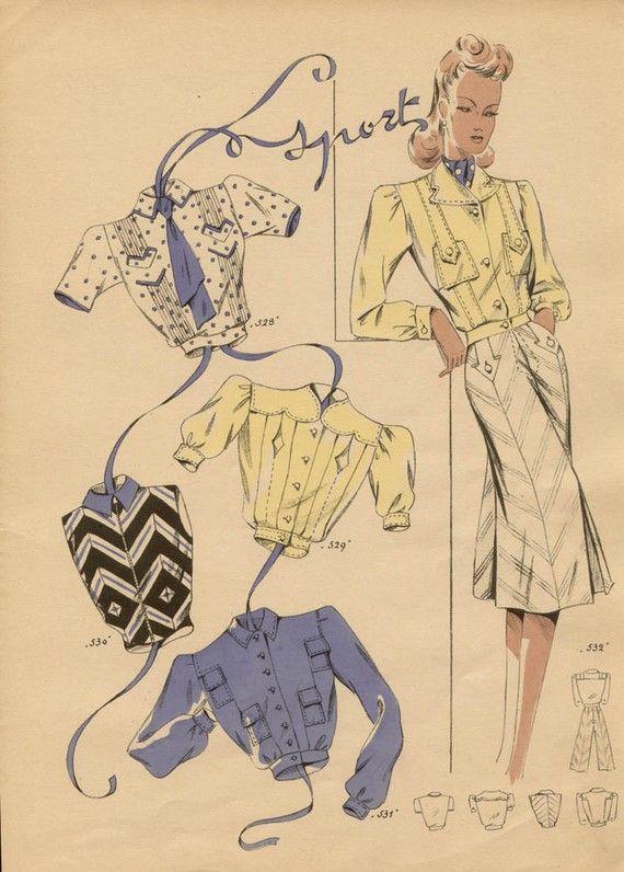 French 1940s Fashion Designs by sebraprints on Etsy, $35.00