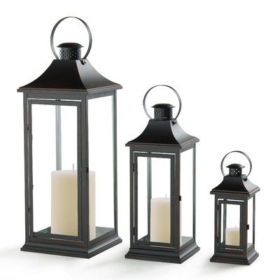 Darby Home Co 3 Piece Metal/Glass Lantern Set Color: Copper Patina