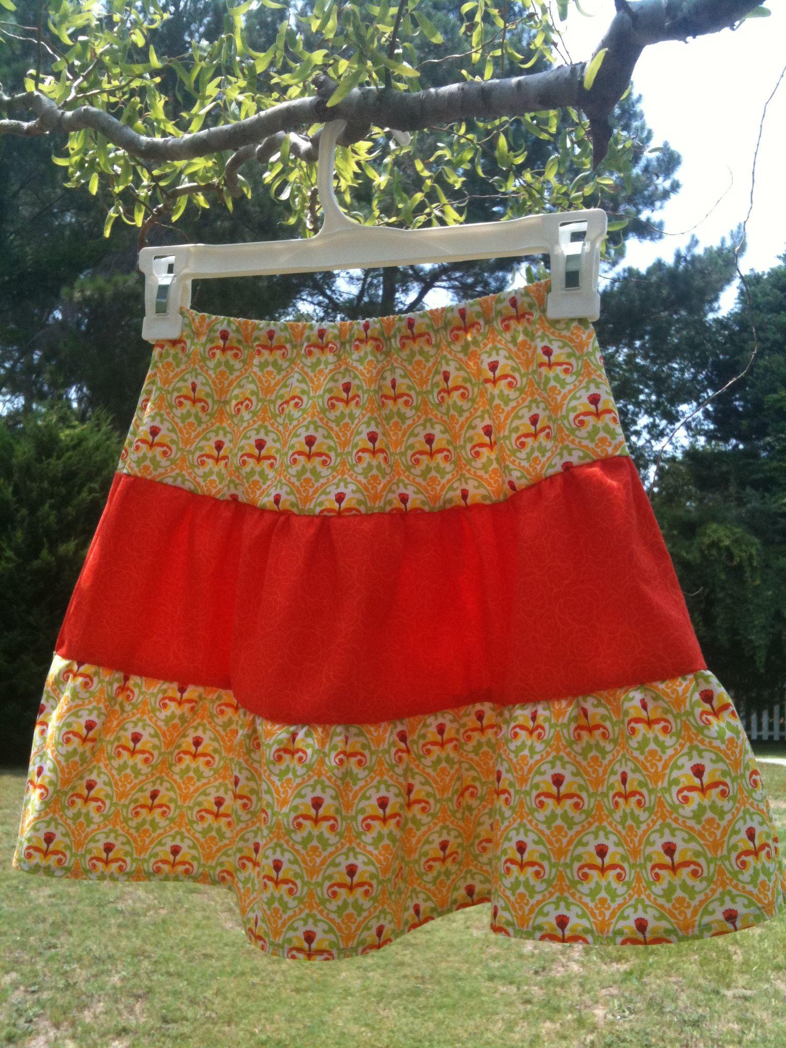 bright yellow and orange homemade 4T skirt Safari design