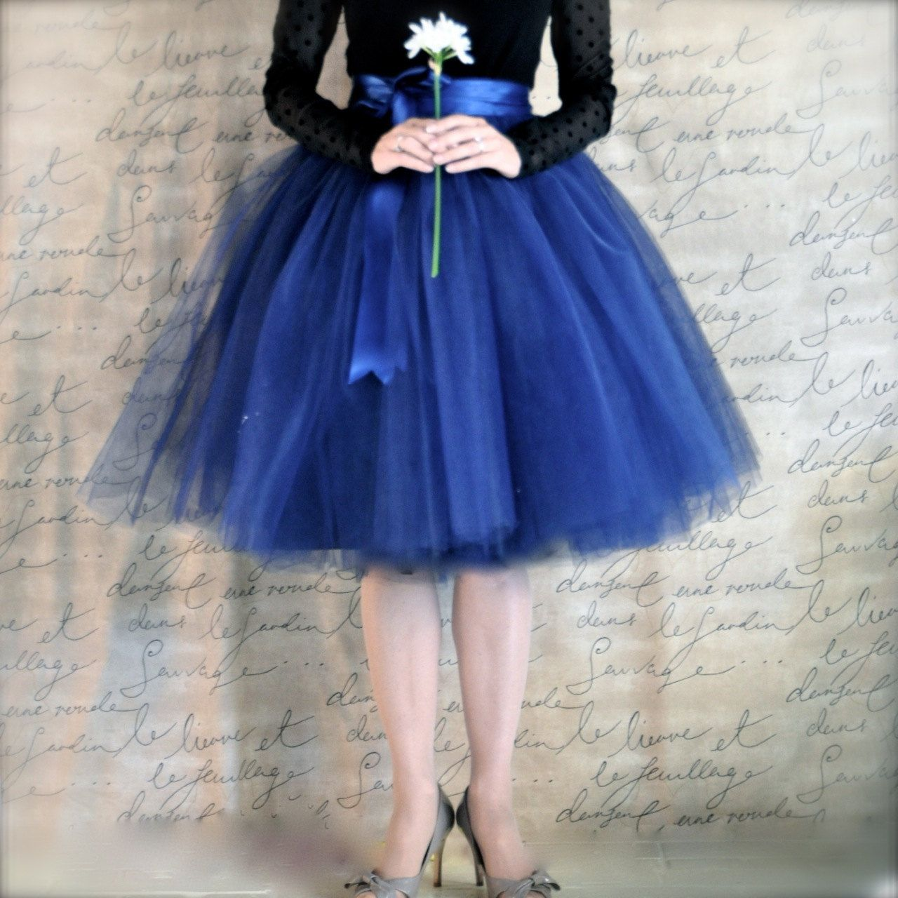 Navy blue tulle skirt tutu for women lined in black satin with a ...