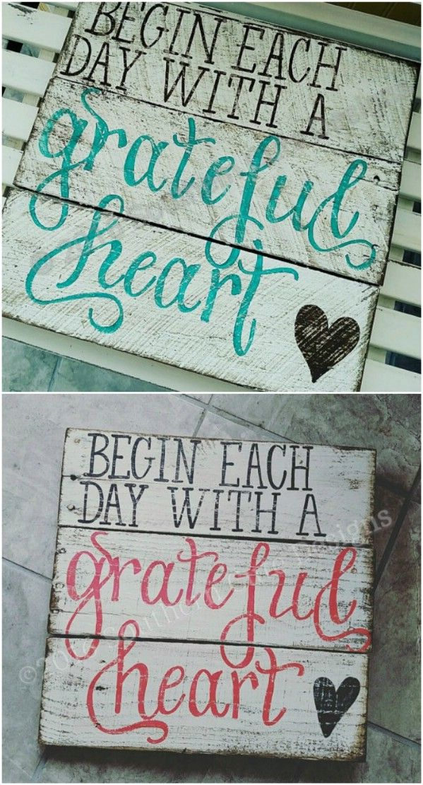 Grateful Heart Distressed Sign Wood Signs Rustic Wooden