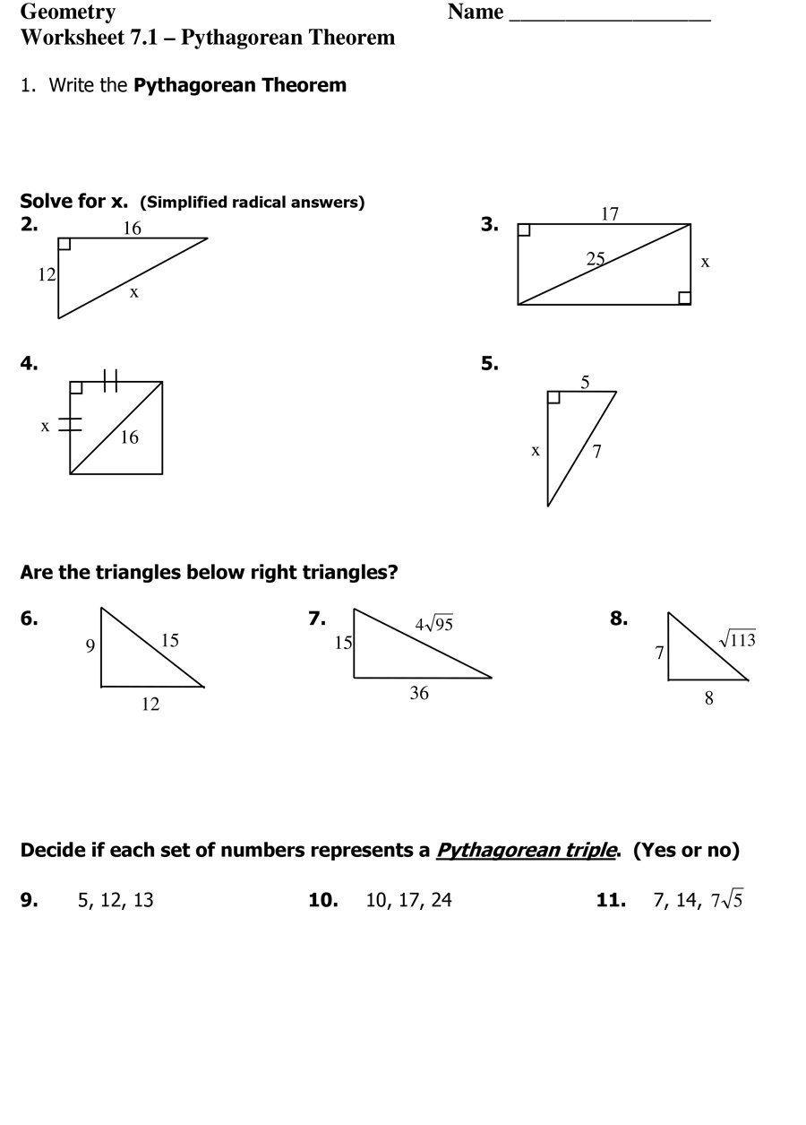 Pythagorean Theorem 36 Pythagorean Theorem Worksheet Pythagorean Theorem Worksheets