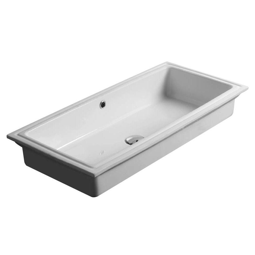 City Ceramic Rectangular Undermount Bathroom Sink With Overflow Undermount Bathroom