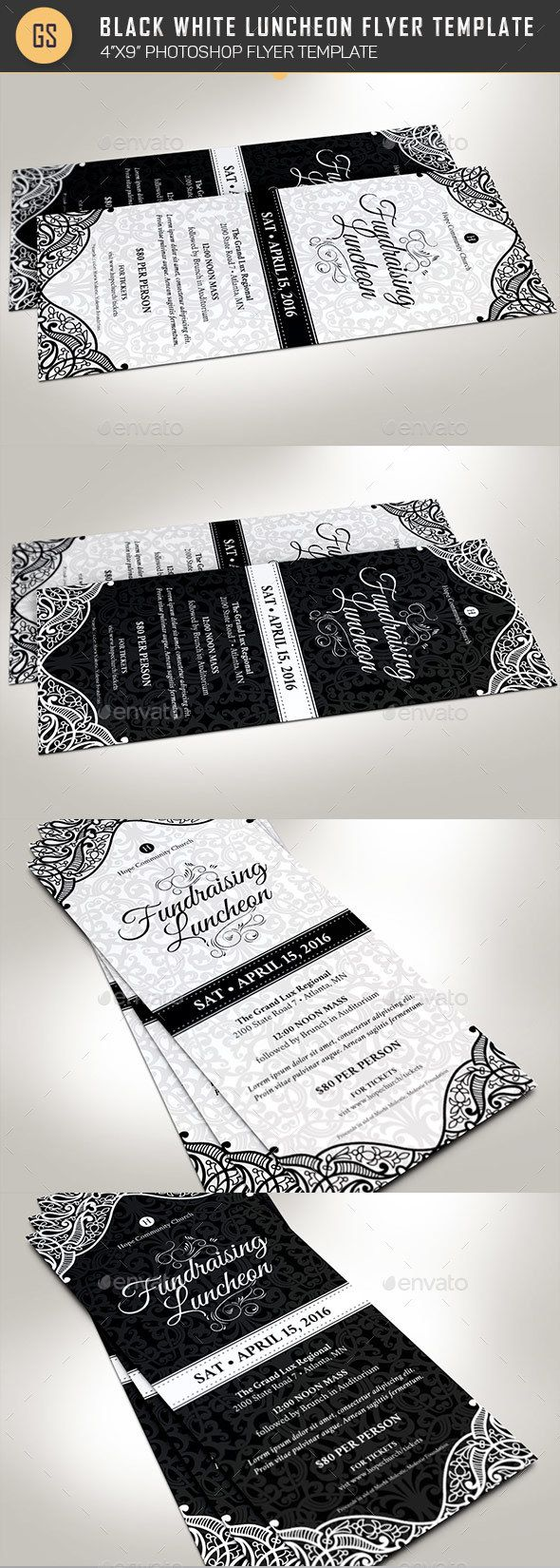 Black White Luncheon Flyer Template Pinterest Flyer Template
