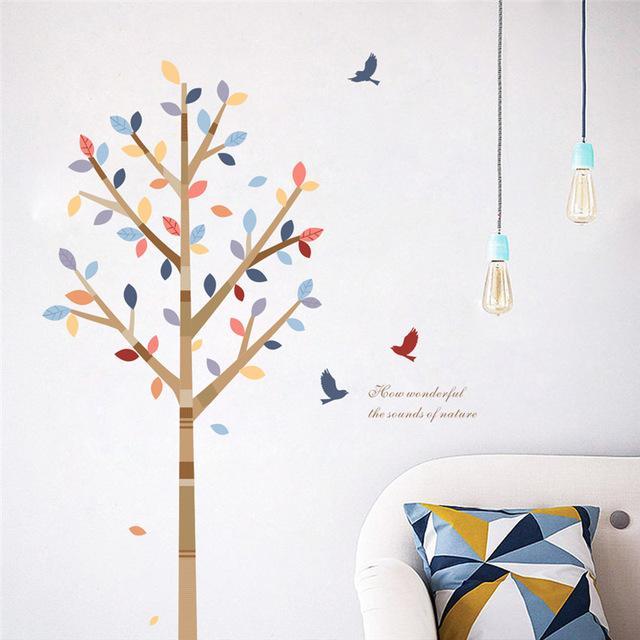 Wandtattoo wandaufkleber wandsticker wohnzimmer Baum Vogel  wbm25
