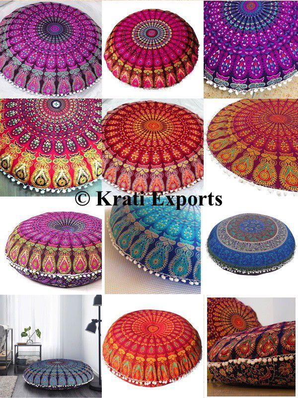 Details About Bohemian 32 Floor Cushion Cover Indian Mandala