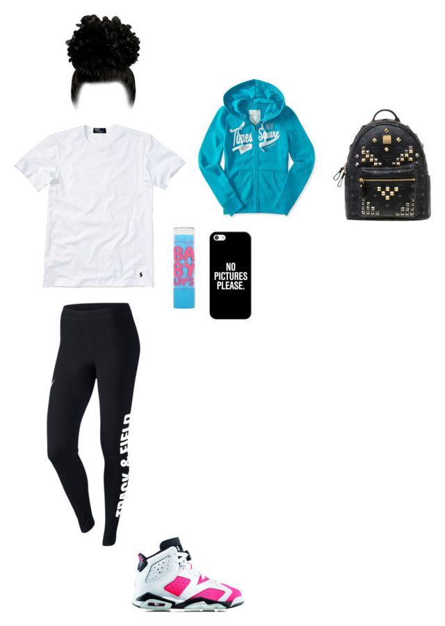 """""""Tamia; walking around with Shyly,Kiara,and Blake"""" by mackenzieandsierra on Polyvore featuring Polo Ralph Lauren, NIKE, Aéropostale, MCM, Maybelline and Casetify"""