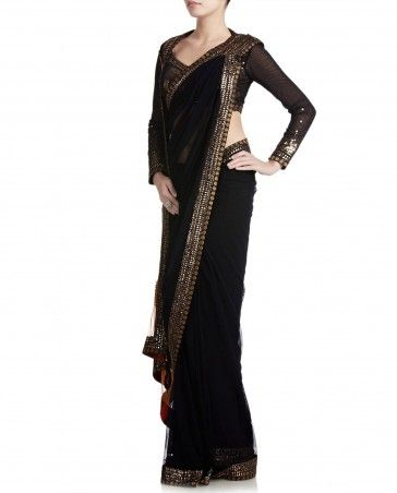Black Sari with Embellished Pallu SATYA PAUL