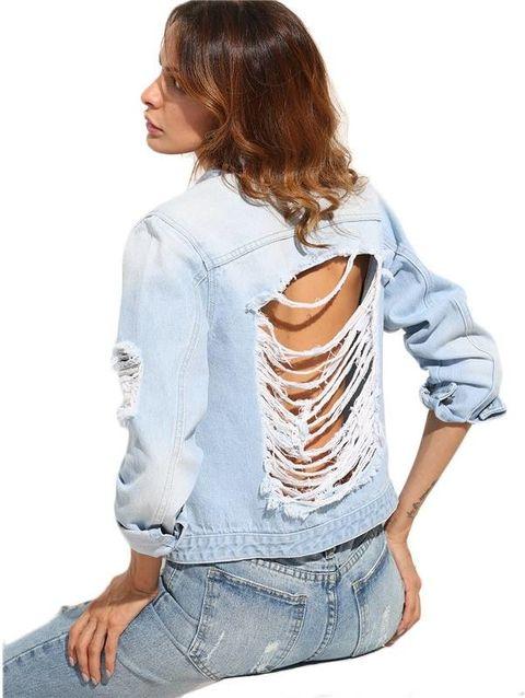 Jaqueta Jeans Feminina Detonada - Ref.096
