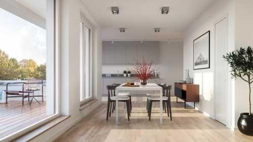 Essbereich mit Fensterfront Wohnung kaufen, Wohnen