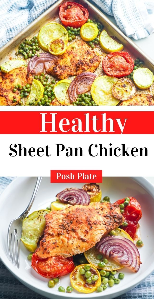 The best effortless sheet pan chicken with tender pieces of squash, petite peas, roasted red onions, and perfectly seasoned all-white meat chicken breast. #healthychicken #recipe #easychickendinner #dinner #sheetpan #chicken #healthychicken #healthyrecipes