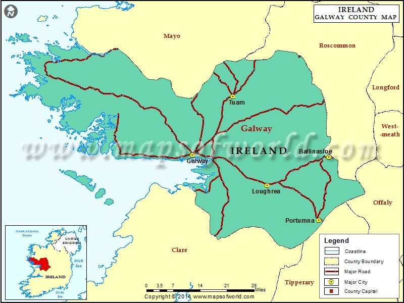 Galway Map With Images County Map Map Galway