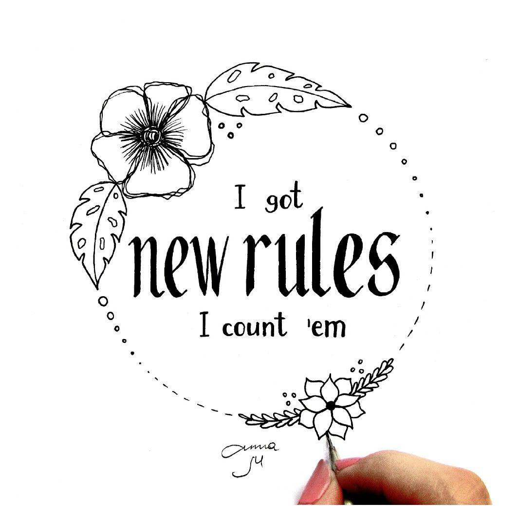 New Rules Dua Lipa Anna Marywhite Anna Marywhitedrawing Newrules Dualipa Rules Quotes Lyric Drawings Love Words