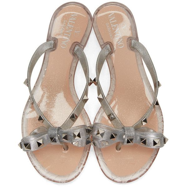 9e41159be Valentino Silver Valentino Garavani Rockstud Jelly Bow Sandals (485 BAM) ❤  liked on Polyvore featuring shoes