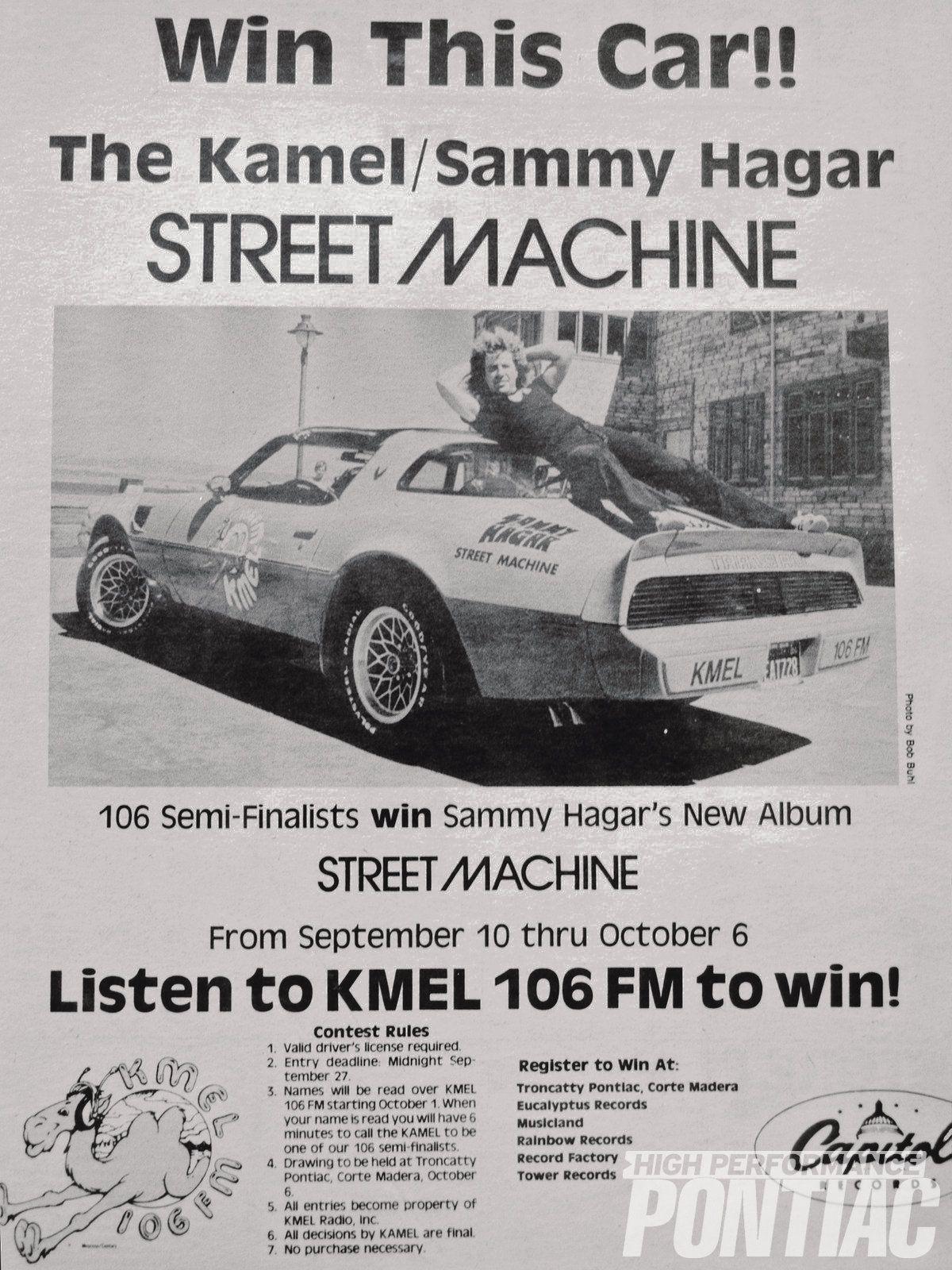 Kmel Sammy Hagar Street Machine Trans Am Paper Photo 3 Sammy Hagar Trans Am Pontiac Firebird Trans Am
