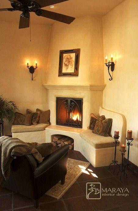 Corner Fireplace and Dark Leather Sofa in Mediterranean Living Room ...