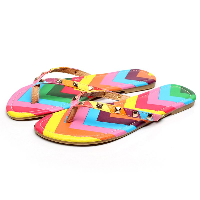 Unisex Cartoon Cat Pattern Summer Beach Herringbone Shoes Sandals Slipper Indoor & Outdoor Flip-flops