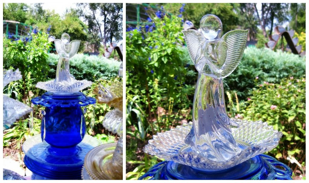 Garden art with old dishes vintage dish totems for Garden art from old dishes