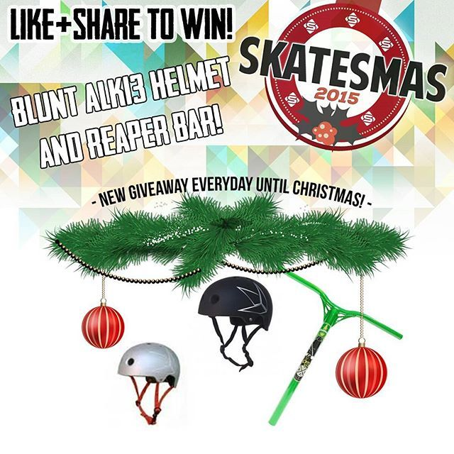 Win a Blunt Alk13 Helmet and a set of Reaper bars! Skatesmas 2015 is here! Each day on the run up to Christmas we're giving you the chance to win some awesome prizes! All you have to do is like and share the image on Facebook or Instagram today along with @skatescouk for a chance to win. Check out the Skatesmas winners section of our site every Monday to find out if you've won! www.skates.co.uk/skatesmas-winners #skatesmas