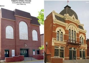 Tibbits Opera House Facade Before And After Restoration