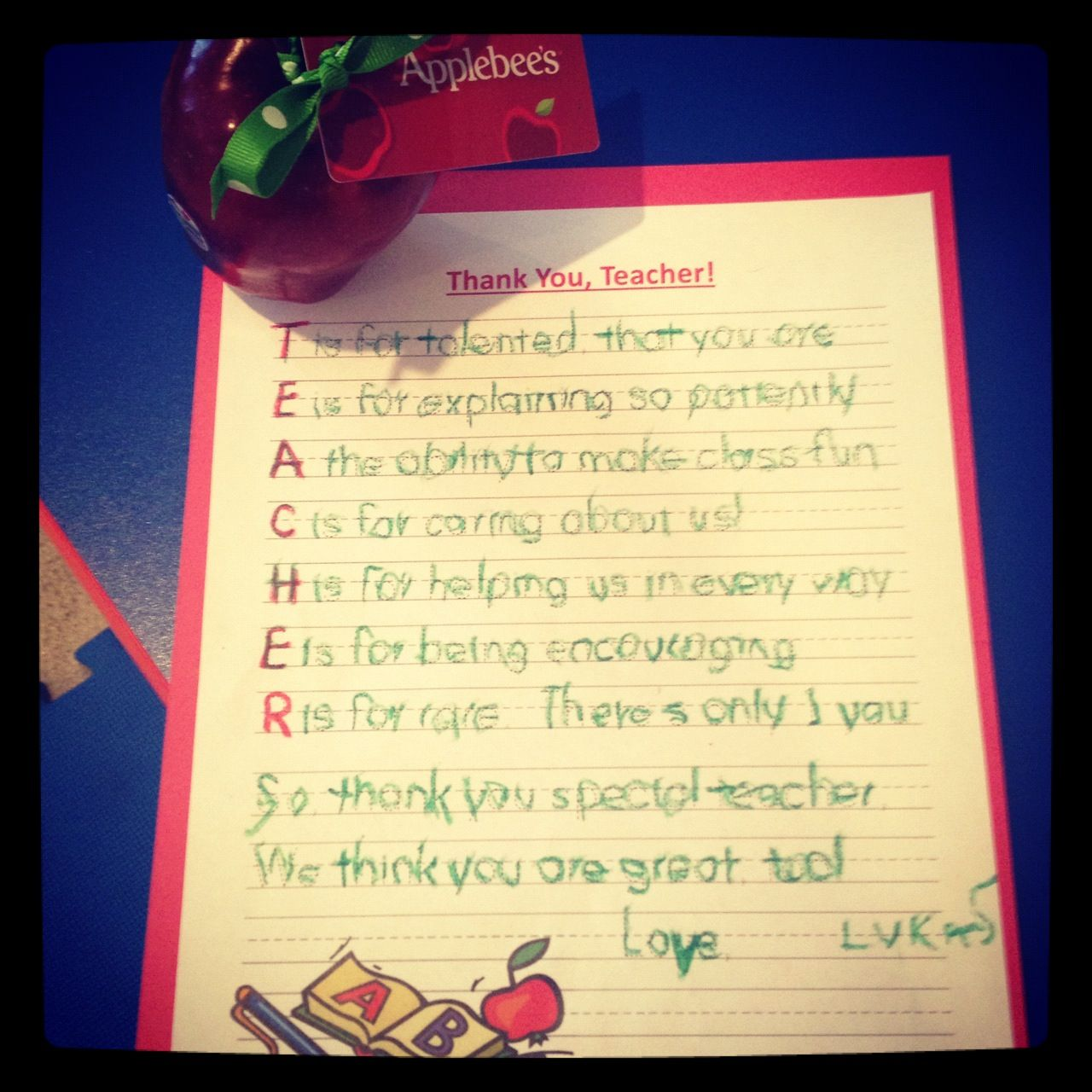 teacher appreciation day cute letter to teacher with an apple applebees gift card
