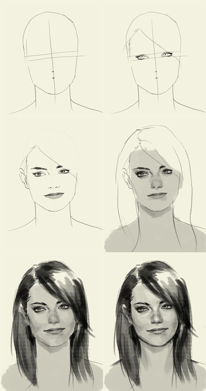 sketching Emma Stone - because she looks like my sister and now I ...