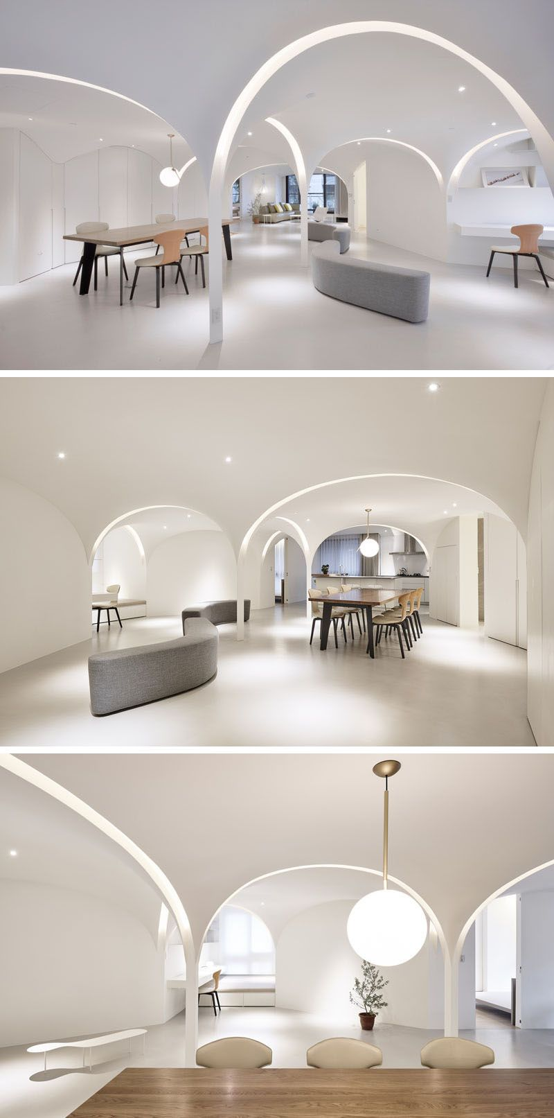 Very Studio | Che Wang Architects have designed the interior of a modern white apartment that features arches that have curved lighting that runs within them. #InteriorDesign #Lighting #Archway