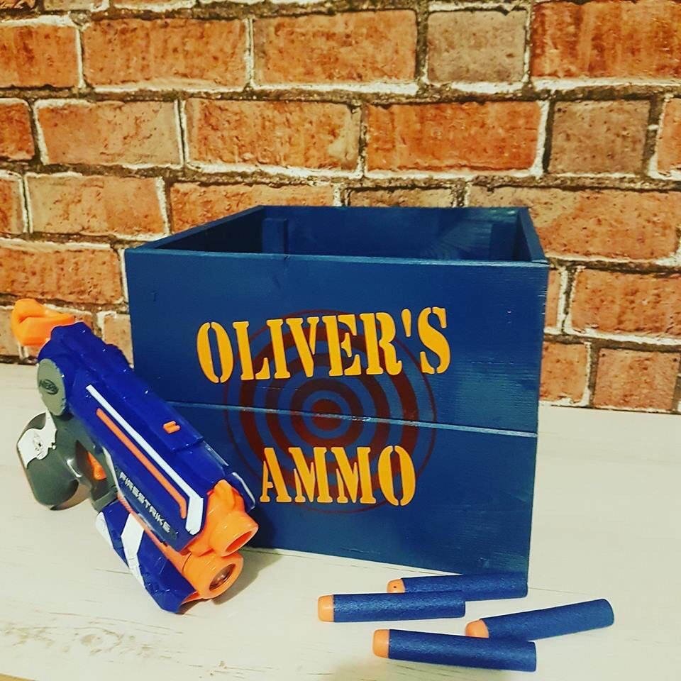 Toy Gun Storage - Toy Storage - Personalised Crate - foam Bullet Storage - Toy Box - Toy Crate - Personalised Gifts - Make Believe Gift #gunsammo