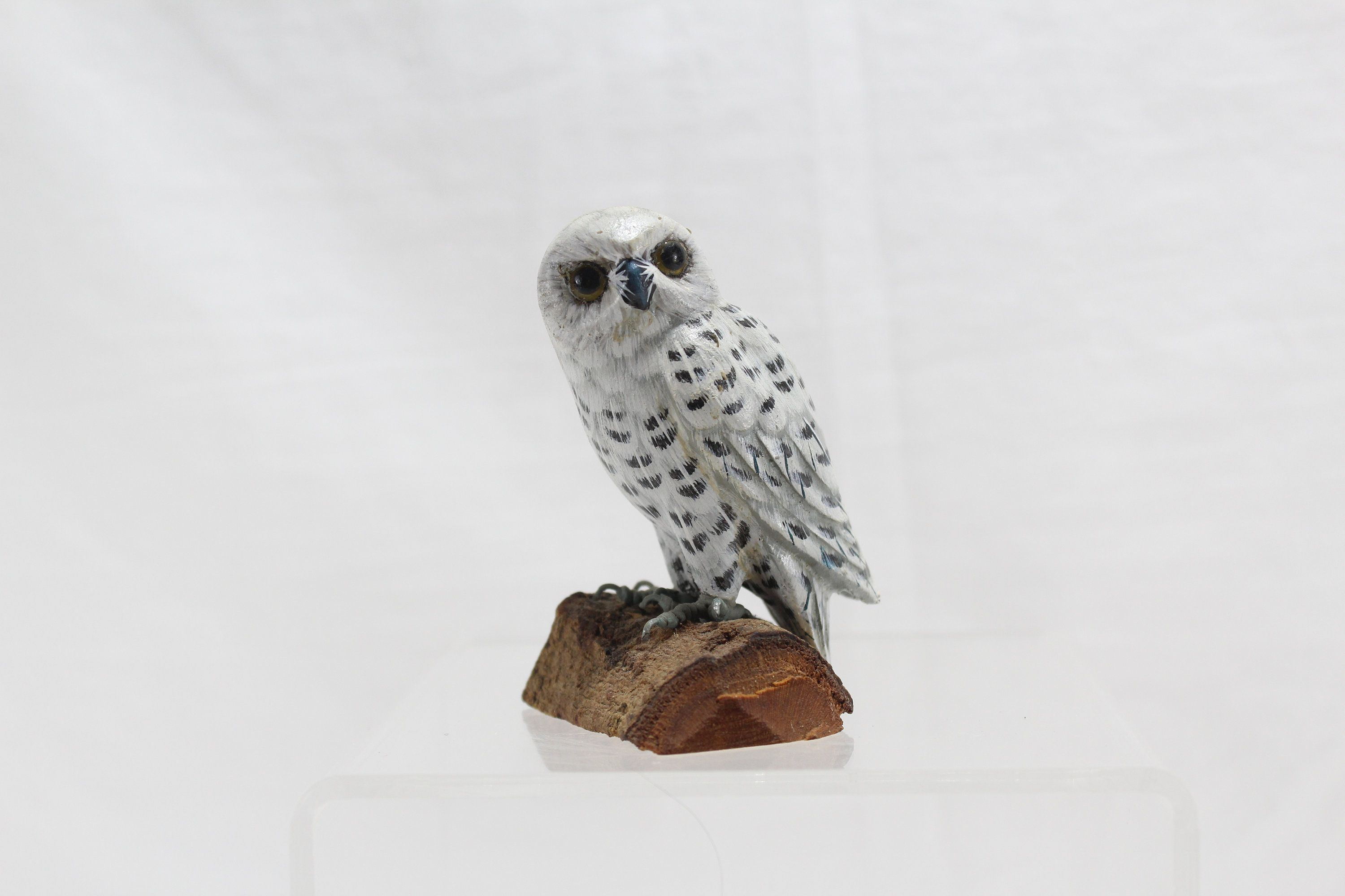Vintage Pewter Owl Figurine Cute Animal Miniature Bird Handmade Art Crafted