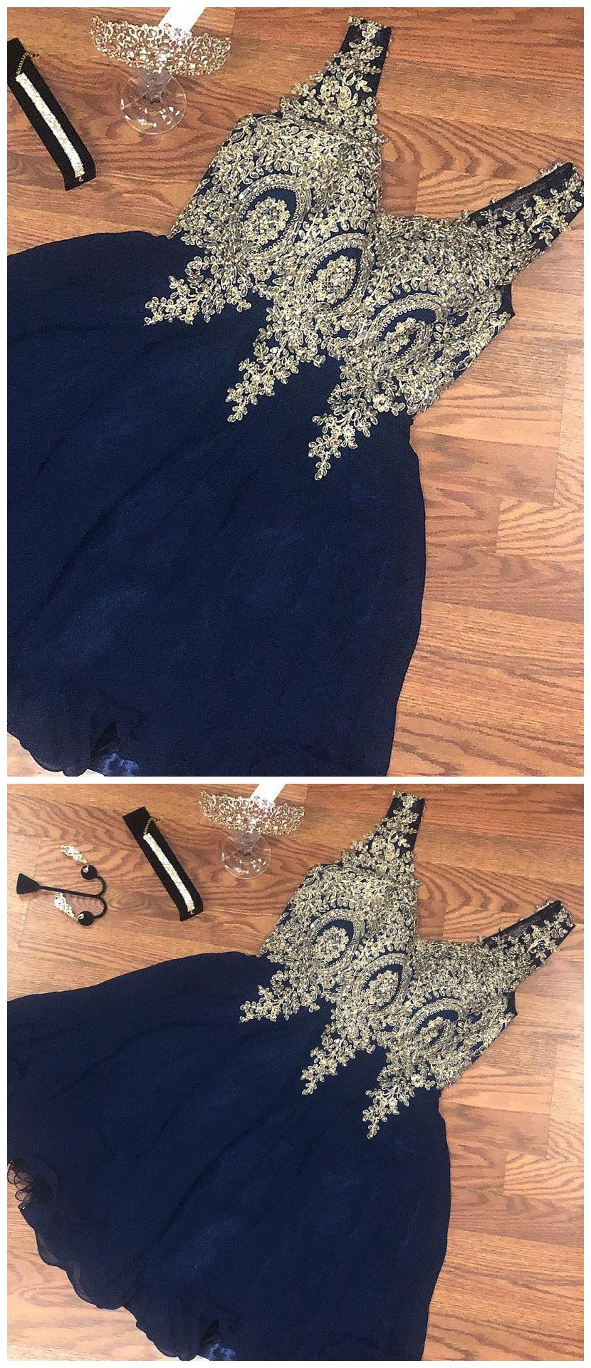 Gold lace applique homecoming dresses navy blue short chiffon prom