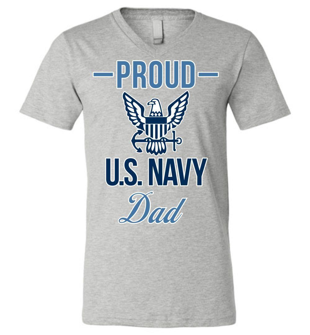 Proud U.S. Navy Dad Canvas Unisex V-Neck T-Shirt
