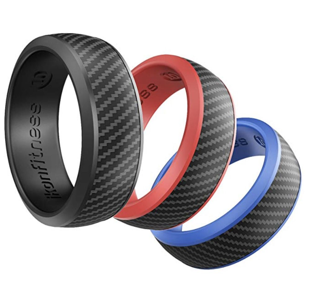 8mm Fitness Silicone Rubber Wedding Ring Carbon Fiber Texture Skin Safe 3 Pack Sar Silic Silicone Wedding Ring Men Rubber Rings For Men Rubber Rings Wedding