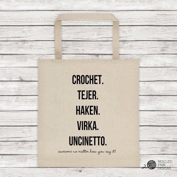 "Crocheters Tote Bag - Project Bag - ""Crochet is awesome in any language "" - Yarn Project Organizer - Crochet - Haken- Tote - Gift"
