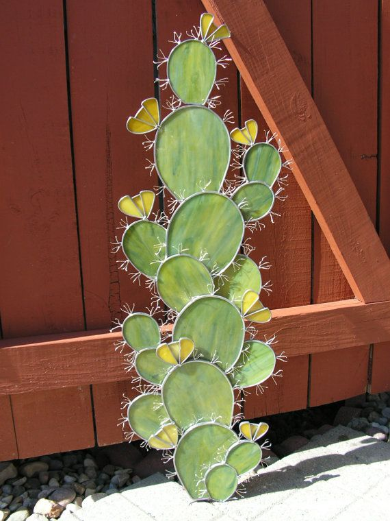 Prickly Pear Cactus Garden Art Sculpture In Stained Glass
